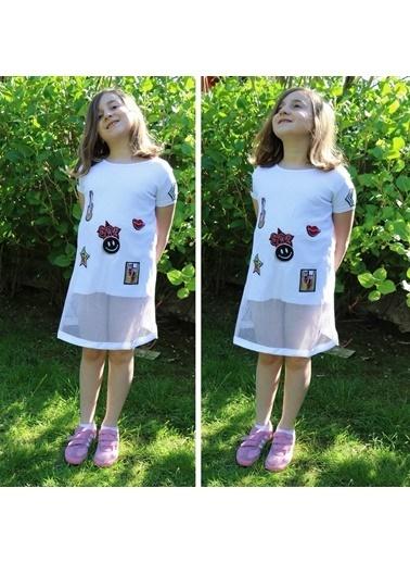 Quzucuk Kids Kız Çocuk File Detaylı Beyaz Tunik Renkli